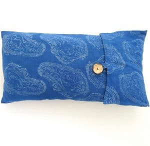 Eco-friendly lumbar pillow covers, handwoven with zero waste cotton, hand batik block printed and natural dyed with indigo.