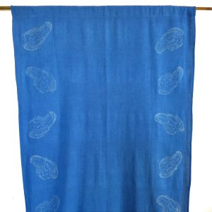 Eco-friendly fabric handwoven with recycled cotton yarn, hand printed and hand dyed with indigo dye. Drape, panel or bed runner. Go Zero fabrics.