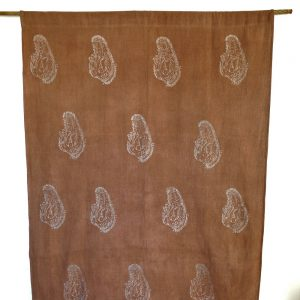 Eco-friendly fabric handwoven with recycled cotton yarn, hand printed and hand dyed with natural dyes. Drape, panel or bed runner. Go Zero fabrics.