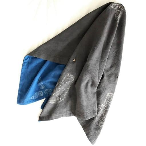 Eco-friendly fabric reversible throw, handwoven with recycled cotton yarn. Go Zero fabrics.