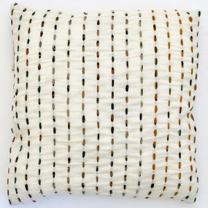 """Fair trade fabric 24"""" cushion cover. Hand stitching with recycled sari strips."""