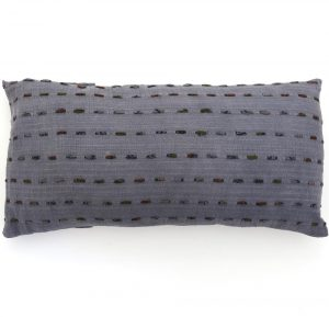 Fair trade fabric lumbar pillow. Hand stitching with recycled sari strips and naturally dyed.
