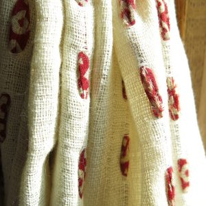 Fair trade fabric tab drape, hand stitched with strips of recycled sari. Go Zero fabrics.