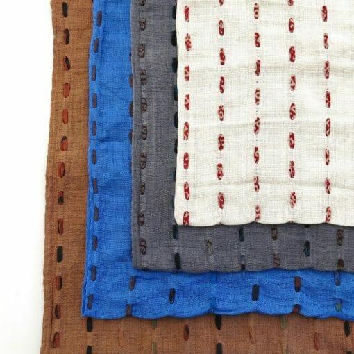 Fair trade yardage fabric, hand stitched with recycled saris. Go Zero fabrics.