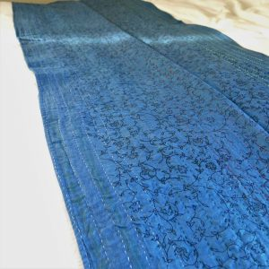 Recycled sari kantha bed runner. Hand stitched and dyed with natural dyes. Go Zero fabrics.