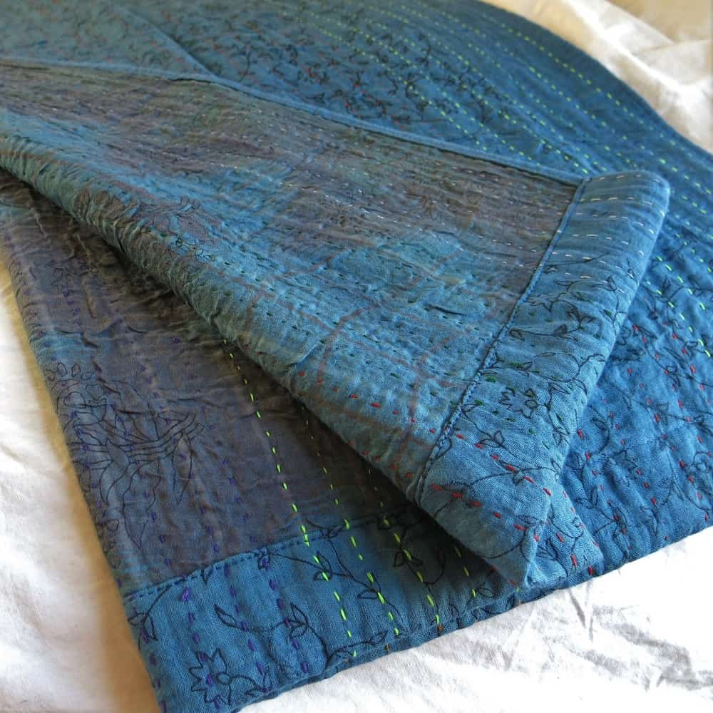 Recycled sari kantha bed runner, hand dyed natural dyes. Detail. Go Zero fabrics.