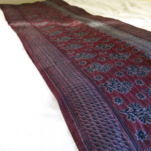 Recycled sari kantha bed runner hand dyed natural dyes. Detail. Go zero fabrics.