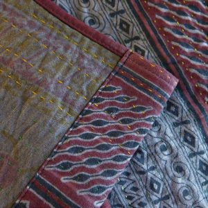 Recycled sari kantha bed runner. Hand stitched and dyed with natural dyes. Detail.