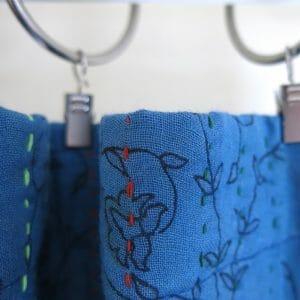 Recycled sari, kantha, drape or panel. Over-dyed with indigo dyes.Go Zero fabrics.