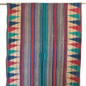 Recycled sari, kantha, drape or panel. Over-dyed with natural dyes.Go Zero fabrics.