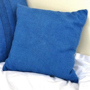 Sustainable fabric cushion covers handwoven with zero waste cotton, hand dyed with local indigo dyes. Vegan friendly.