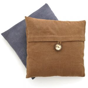 Sustainable fabric cushion covers, 14 inch square, handwoven with zero waste cotton. Vegan friendly natural dyes.