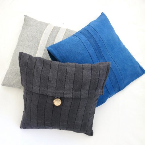 Sustainable fabric cushion covers, 18 inch square, handwoven with zero waste cotton. Vegan friendly.