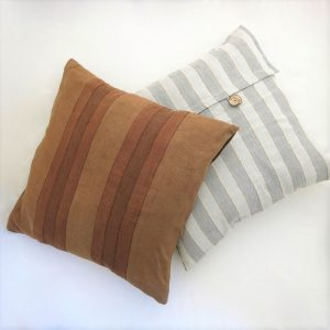 Sustainable fabric cushion covers, 24 inch square, handwoven with zero waste cotton. Vegan friendly.