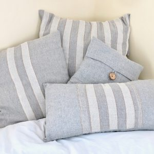 Sustainable fabric cushion covers handwoven with zero waste cotton. Vegan friendly.