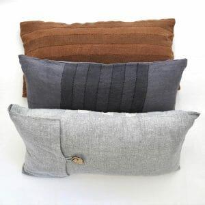 Sustainable fabric lumbar cushion covers, handwoven with zero waste yarn.