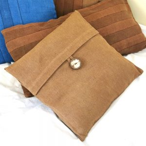 """Sustainable fabric cushion covers handwoven with zero waste cotton, hand dyed with local plant dyes. Vegan friendly. 18"""" 45cm square."""