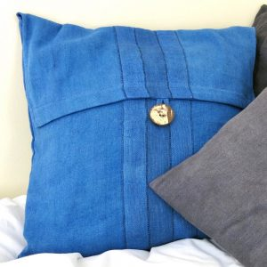 Sustainable fabric cushion covers, 14 inch 35cm square, handwoven with zero waste cotton. Vegan friendly.