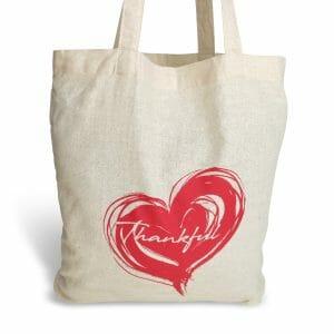 eco-friendly cotton foldaway bag - thankful heart