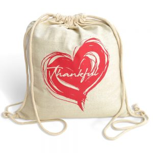 fair trade cotton drawstring bag - thankful heart
