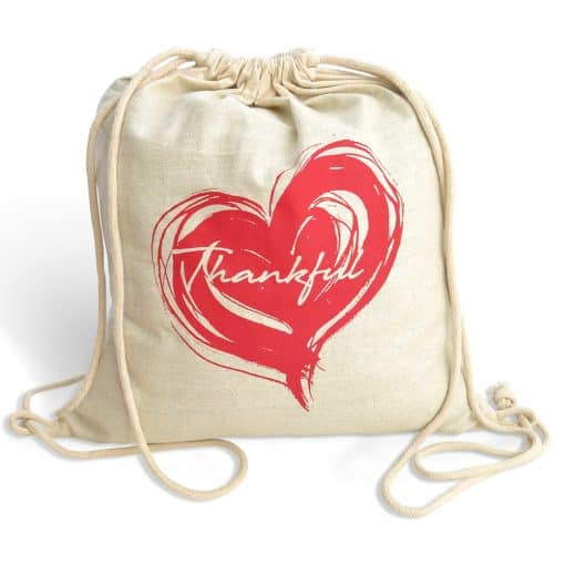 fair trade cotton drawstring bag - thankful heart