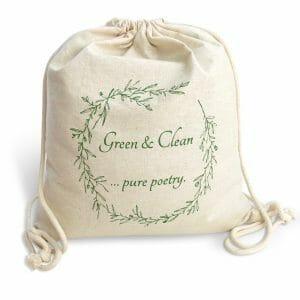 fair trade cotton drawstring bag - green and clean
