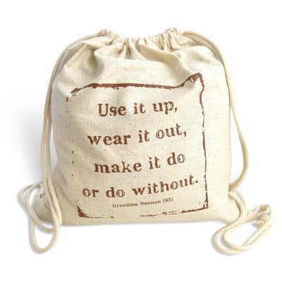 fair trade cotton drawstring bag - use it up, wear it out