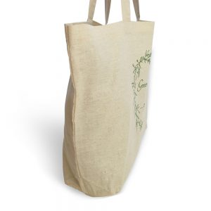 sustainable cotton market tote - green and clean
