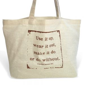 sustainable cotton market tote - use it up, wear it out