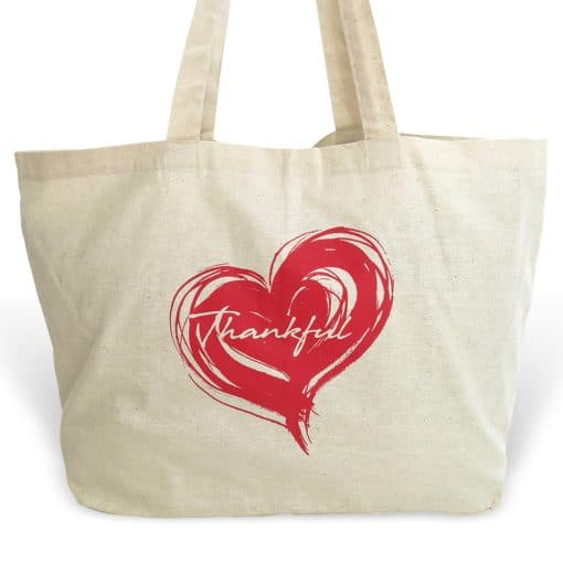 sustainable cotton market tote - thankful heart
