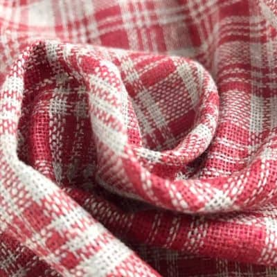 ethical fabric recycled yarn red grey check