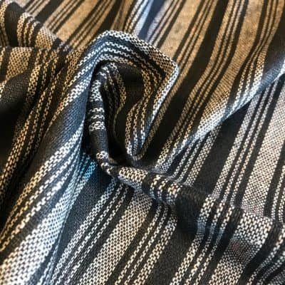 sustainable fabric recycled yarn black grey stripe