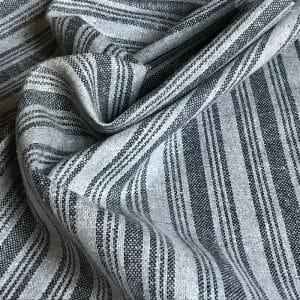 sustainable fabric recycled yarn grey black stripe