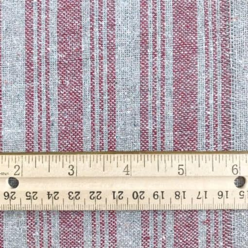 ethical fabric hand woven with recycled yarn grey red stripe