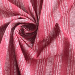 ethical fabric handwoven with recycled yarn red grey stripe