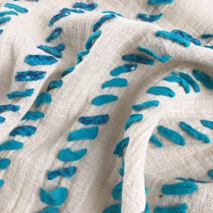 ethically handmade fabric with vintage sari ribbon on cotton