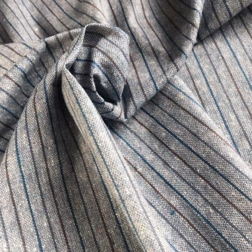 sustainable handwoven stripe fabric natural dye indigo