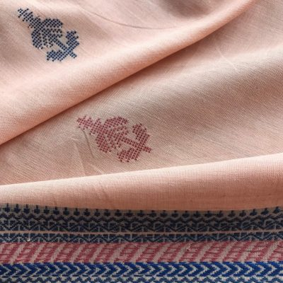 Handwoven cotton motif flower A peach