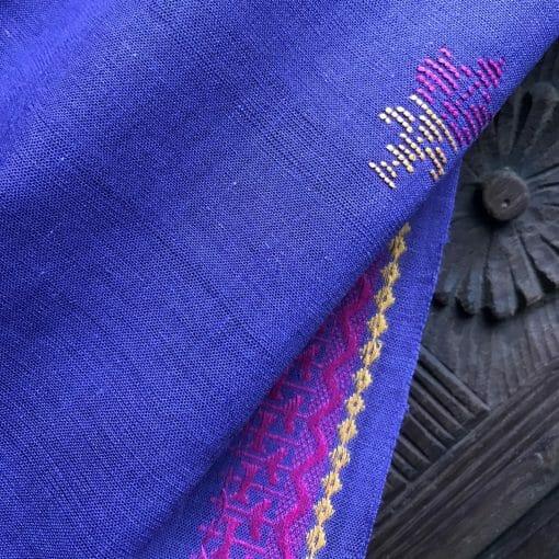 Handwoven cotton motif flower B purple