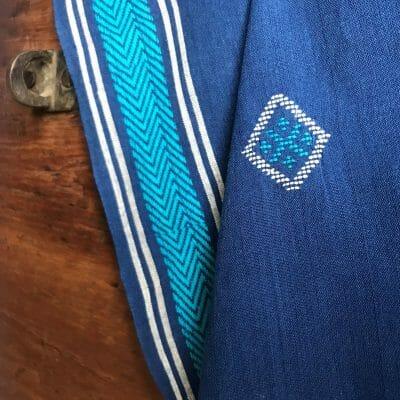 Handwoven cotton motif geo B blue
