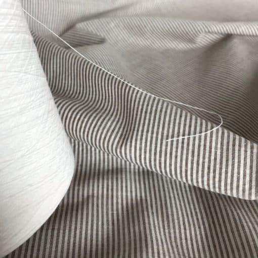 handwoven fine cotton stripe white brown
