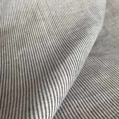 handwoven fine cotton stripe grey white