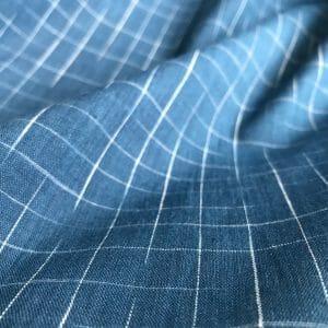 sustainable cotton ikat check indigo white