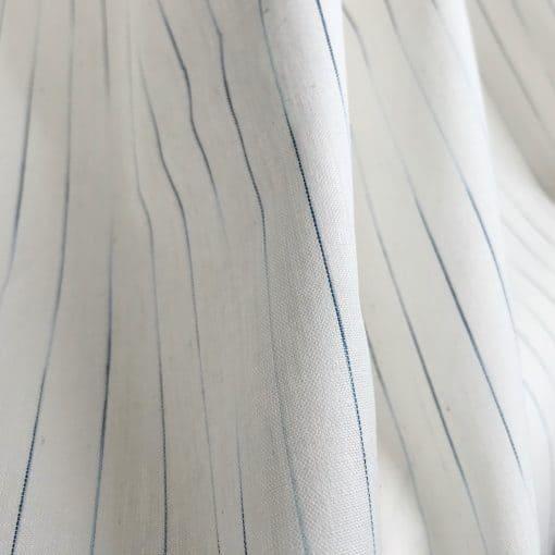 sustainable cotton ikat stripe white indigo