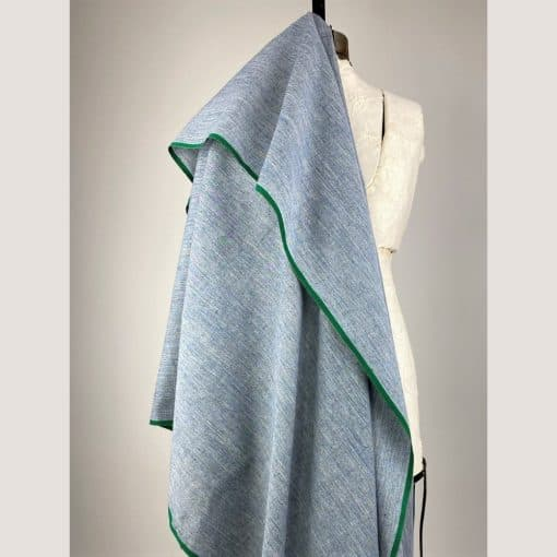 ethical handwoven cotton blue chambray style fabric