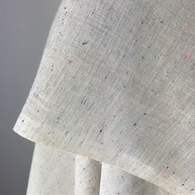 fine handwoven cotton grey with multi-colour fleck texture