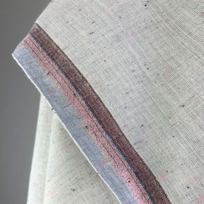 fine handwoven cotton grey texture with glittery metallic thread border
