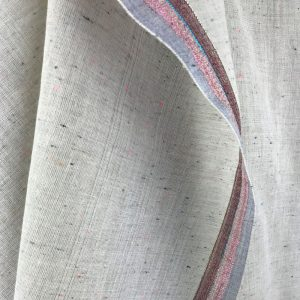 fine handwoven cotton grey texture with glittery metallic thread border