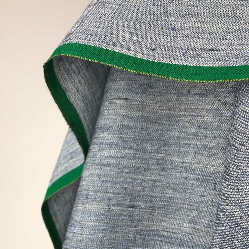 ethical handwoven cotton fabric blue chambray style