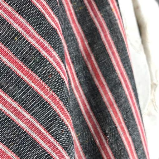 ethical handwoven cotton stripe black red